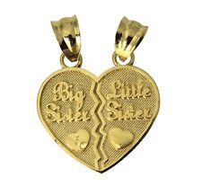 """14K Real Yellow Gold """"BIG & LITTLE SISTER """" 2 Broken Split Heart Charm Pendant"""