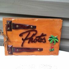 Vintage 1950's Wood Photo Album from The Palm Beaches with Black Photo Pages