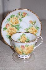 MINT ROYAL ALBERT Yellow Tea Rose Cup & Saucer/Malvern Shape 1940's Backstamp