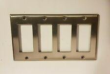 Wall Light Switch Plate / Rocker Toggle Cover / Brushed Nickel 4 Gang