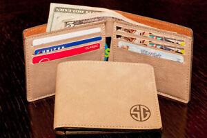 Personalized Brown Bifold Wallet, Monogram, Custom Engraved Christmas Gift