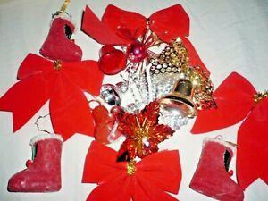 Vintage Retro Kitsch Plastic Christmas Tree Decorations Baubles Red Flock Felt