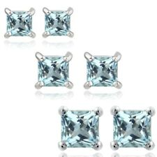 925 Silver 3ct Blue Topaz 3, 4 & 5mm Square Stud Earrings Set of 3
