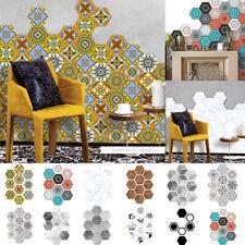 100Pcs PVC Hexagon 3D Tile Mosaic Wall Stickers Floor Bathroom Wallpaper Decals