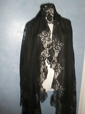 OFFER $1.5K VALENTINO AMAZING BLACK 100% CASHMERE AND FRENCH LACE LRG SHAWL WRAP