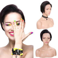Glueless Short Pixie Bob Straight Human Hair Lace Front Brazlian human hair wigs