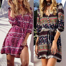 Women Floral 3/4 Sleeve Boho Beach Ethnic Print V Neck Mini Short Dress Sundress