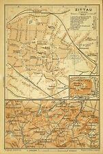 ZITTAU, alter farbiger Stadtplan, gedruckt ca. 1900