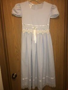 Beautiful Girls Bonnie Jean Blue&White Crochet Lace & Ribbons Dress Size 14-NWOT