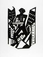 James Lesesne Wells : Looking Upward :1928 Woodcut : Archival Quality Art Print
