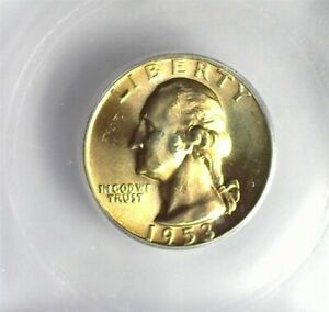 1953 WASHINGTON SILVER 25 CENTS ICG MS 66+ LISTS FOR $75!! NICE GOLDEN COLOR!