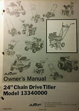 """AMF 24""""-Chain-Drive Tiller Small Acre Farming Tractor Owner & Parts Manual 10pg"""