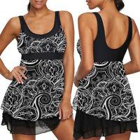 Plus Size Women Floral Swimdress Swimwear Swimsuit Beachwear Mesh Padded Black