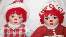Marie Osmond Twins Huggs & Kissy Mistle Ho Ho Ho Porcelain Dolls LOt used/boxes