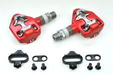 [US Seller] New Wellgo RC-713 Road Bike Clipless Pedals with Cleats 98A - Red