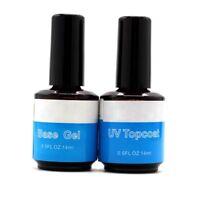 2pcs/Lot 14ml Top Coat Base UV Gel Acrylic Nail Art Polish Gloss Seal Glaze Fast