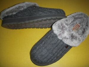 Skechers BOBS Ice Angel Sweater Knit Faux Fur Clogs Women's 8.5 W Grey 8.5W
