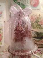Shabby Cottage Chic Pink Rose Victorian Reindeer Cloche Christmas Ornament