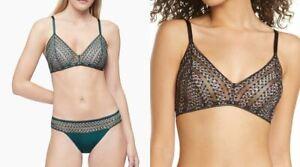 NWT! Calvin Klein Women's Sz M/XL Striped Lace Triangle Bralette QF5872