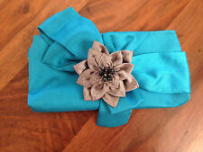 Flower Fabric Clutch Purse Brooch Embellished Floral Pendant Blue Gray Bow New