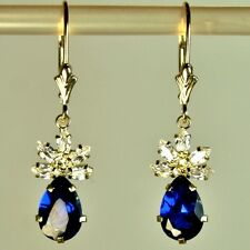 14k solid y/gold lab created 9x6mm briolette Sapphire earrings leverback 3.50tcw