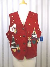 Karen Scott ugly Christmas Vest Large Red With Angels Trees Buttons   NWT