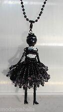new collection Collana Bambola vestito di perline,necklace doll,da donna nero
