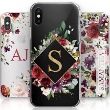 PERSONALISED INITIAL PHONE CASE FLOWERS ON CLEAR HARD COVER FOR SAMSUNG S10 S9..