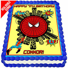 Spiderman Personalised A4 Edible Icing Cake Topper