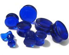 "PAIR-Stone Quartz Blue Sapphire Double Flare Ear Plugs 25mm/1"" Gauge Body Jewe"