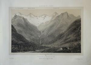 Victor PETIT (1817-1871) LITHO VUE BAGNERES DE LUCHON PYRENEES OCCITANIE 1860 k