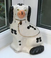 Vintage Arthur Wood Mantle Wally Dog 7.25 Inch Black&White. 4558