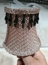 Nice Fabric Night Light Shade - Golden Color With Black Dangles - Pre-Owned
