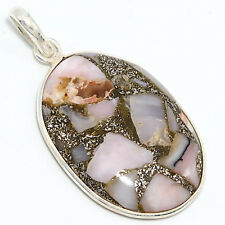 "92.5 Sterling Silver Genuine Pink Opal With Copper Cab Pendant 1.80"" D-615"