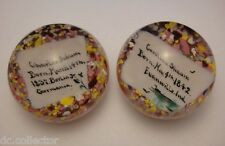 PAIR ANTIQUE 1900's FRIT GLASS PAPERWEIGHTS-EVANSVILLE INDIANA-GERMANY IMMIGRANT