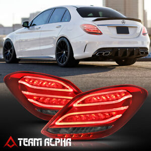 Fits 2015-2018 Mercedes W205 C-Class{NEON TUBE LED BAR}Red/Smoke Lamp Tail Light