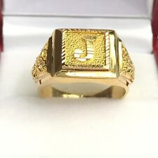 18k Solid Yellow Gold Initial J Dragon Man Ring .Sz 8.75, .9.47Grams