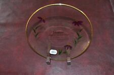 Fenton Happy Anniversary Glass Plate w/ Purple Flowers NEW IN BOX  with Stand
