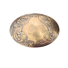 New Gold Engraved Western Oval Belt buckle Women's Men's Cowboy Brass Large Gift