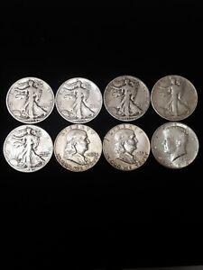 Lot Of 8 Half-Dollar's! Walking, Franklin, JFK! Orginal State! VG/BU Condition!