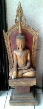 "19th Century Mandalay Teak Wood Buddha Temple Relic Ornament 40"""