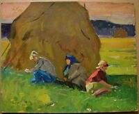Russian Ukrainian Soviet Oil Painting Impressionism female figures haymow rest