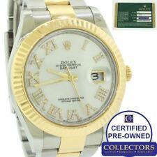 2013 MINT Rolex Datejust II 2 41mm Diamond MOP Roman 116333 Two-Tone Gold Watch