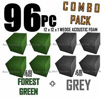 ComBo 96 pack FOREST GREEN/GREYAcoustic Wedge Soundproofing Foam 12x12x1 tile