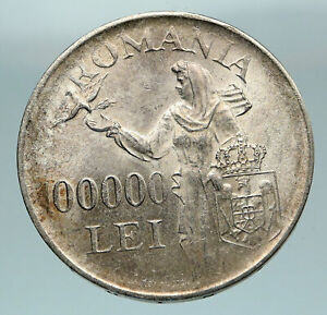 1946 ROMANIA Michael I Romanian Lady & Bird Antique Genuine Silver Coin i84621