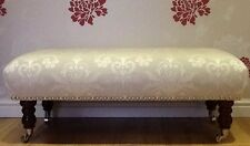 Quality Long Footstool / Stool In Laura Ashley Josette Dove Grey Fabric