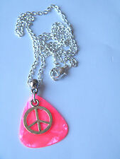 "GUITAR PICK NECKLACE Bright Pink Guitar Pick & Silver Peace Sign 20"" Chain NEW!!"