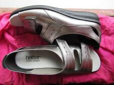 HOTTER SHOES FLORENCE COMFORT SILVER LEATHER SANDALS W VELCRO  SIZE 8.5M/40