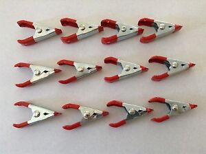 """New 10PC 2"""" Steel Spring Clamps Metallic Finish Silver Body"""