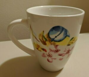Pier 1 Imports Dolomite Coffee Mug Tea Cup Bird Cherry Blossom *CHIPPED*